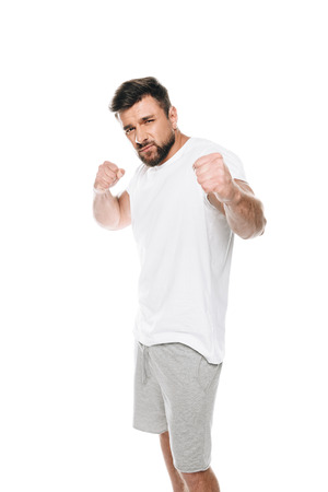 Portrait of handsome bearded man ready to fight Stock Photo