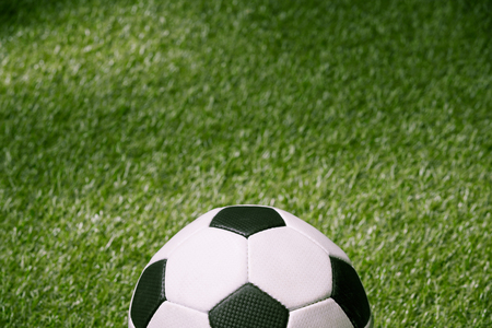 classic soccer ball on green football pitch Stok Fotoğraf - 83371309