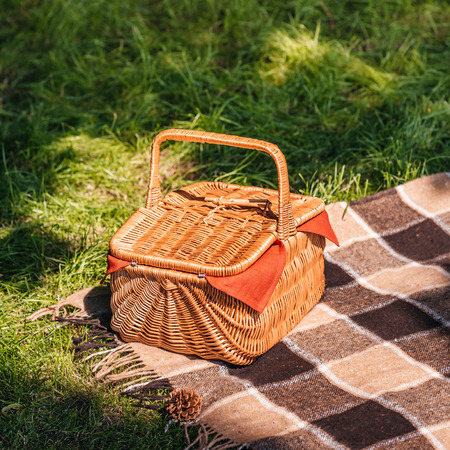Close-up view of wicker picnic basket and plaid on green grass Stock fotó