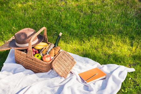 果物、ワイン、帽子、芝生の上の鉛筆とノート付きピクニック バスケット