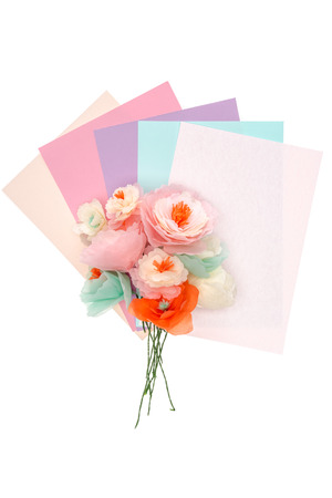 decorative handmade flowers with colored paper Stock fotó