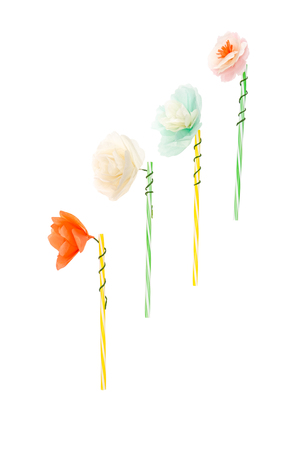 Close-up view of handmade flowers on drinking straws Stock fotó