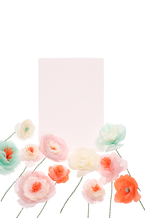 Tender decorative papercraft flowers with blank card Stock fotó