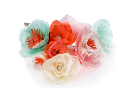 close up view of colorful decorative handmade flowers