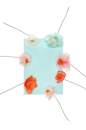 Beautiful handmade flowers arranged around blank greeting card Stock fotó
