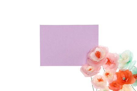 Blank purple placard with decorative handmade flowers Stock fotó