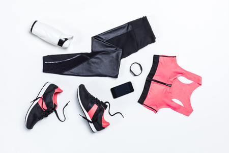 top view of sportswear, sportive water bottle for training and digital devices 스톡 콘텐츠