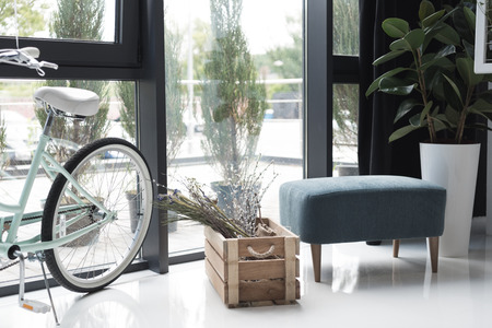 empty creative office with bicycle and dry flowers in wooden box