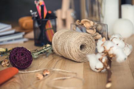 florist workplace with dry cotton flowers Zdjęcie Seryjne