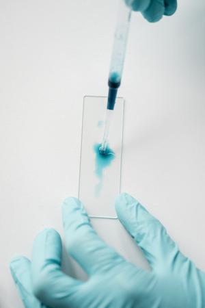 科学者の研究室の試薬とガラス顕微鏡スライドの操作 写真素材 - 84162846