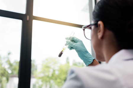 scientist in eyeglasses examining test tube with green plant in soil