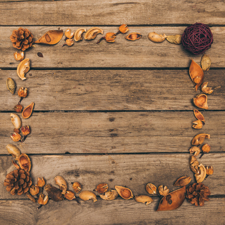 decorative frame made from dry cones, flowers and seeds on rustic wooden table