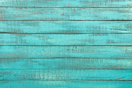 decorative rustic turquoise wooden background with horizontal planks