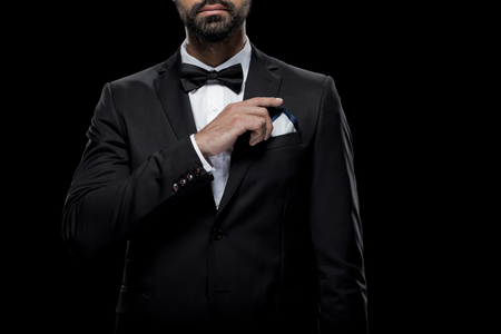 cropped view of businessman in bow tie and tuxedo with napkin, Banco de Imagens