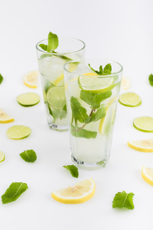 refreshing citrus lemonades with mint leaves Stock Photo
