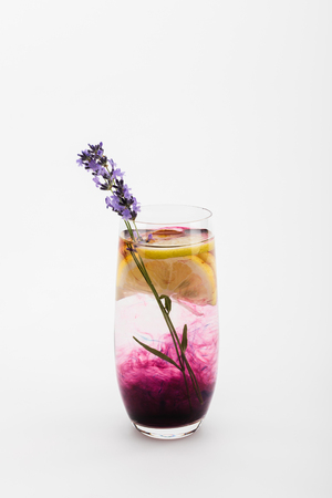close up view of homemade lemonade with lavender flowers and lemon pieces in glass Stock fotó