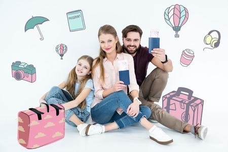 Happy family ready for vacation Banco de Imagens