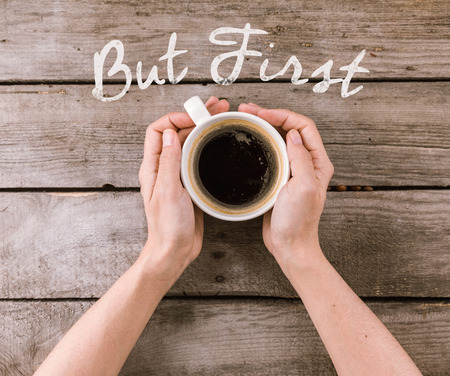 coffee mug steam in hands