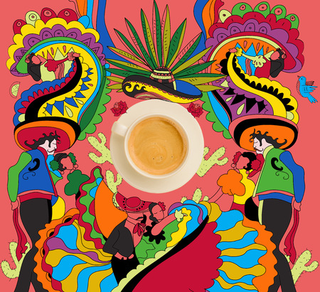 coffee with colorful indian theme Stock fotó