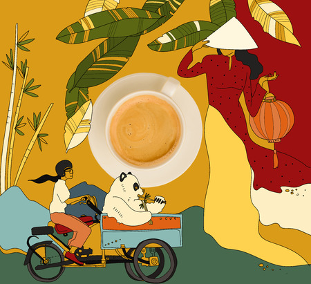 coffee with colorful chinese theme
