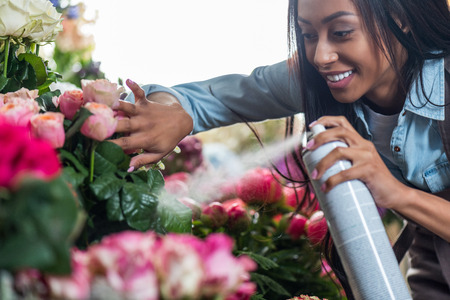 young african american florist spraying beautiful flowers Stock fotó