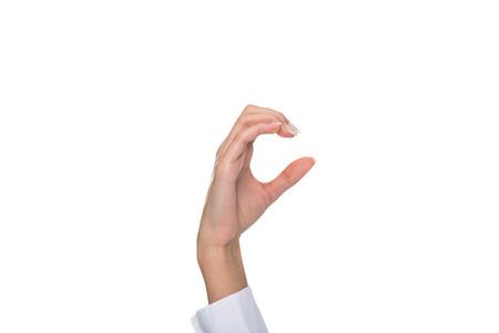 署名された言語は、白で隔離を身振りで示す人
