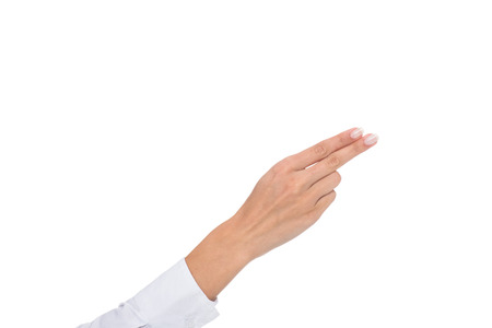 cropped view of person gesturing signed language or pointin gaway Imagens