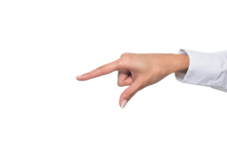 cropped view of person gesturing signed language or pointing down