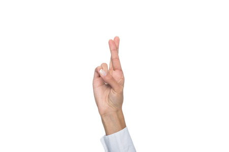 cropped view of person gesturing signed language