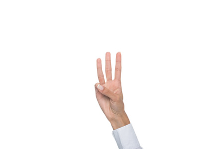 cropped view of person gesturing signed language or showing three sign Imagens