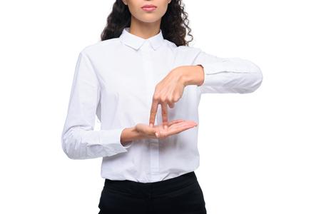 美しい女性のジェスチャーのトリミング ビュー手話 写真素材