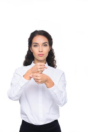 美しい女性が手話を身振りで示すこと 写真素材