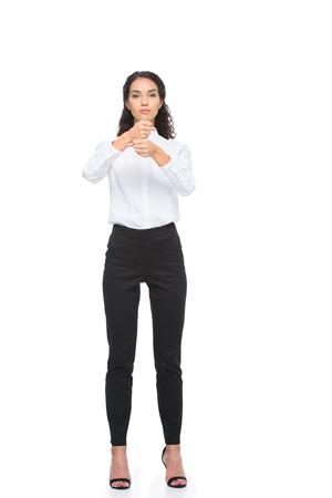立っているとジェスチャーの正装で美しい女性手話