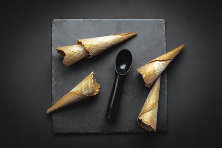 아이스크림 용 웨이퍼 콘 스톡 콘텐츠
