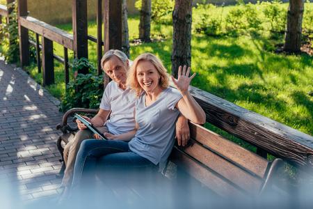 senior couple with tablet Stok Fotoğraf