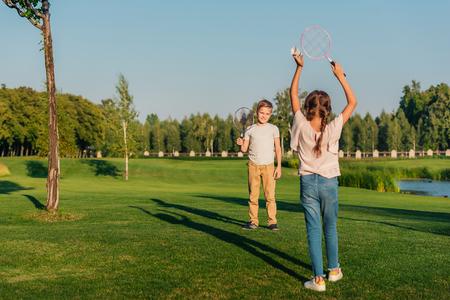 shuttlecock: children playing badminton Stock Photo
