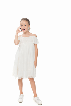 child talking on smartphone