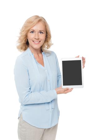 女性を示す空白タブレット