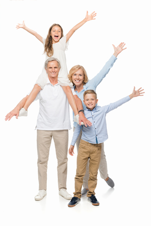 happy grandparents and kids