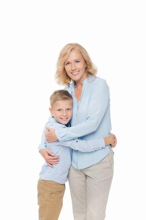 little boy embracing with mother Standard-Bild
