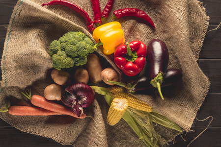 ripe vegetables on sacking