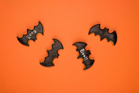 top view of homemade halloween bats cookies