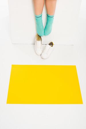 feet of girl in turqouise socks