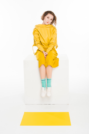 young girl in all yellow