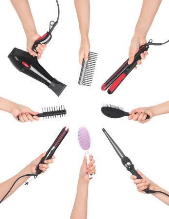 handen met kappersgereedschap Stockfoto
