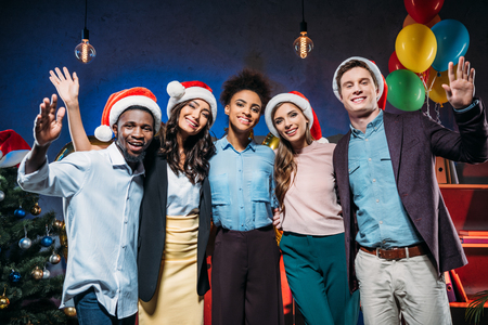 multiethnic friends at new year party Stock Photo
