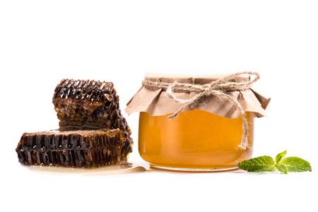 ガラス瓶のハニカムと蜂蜜