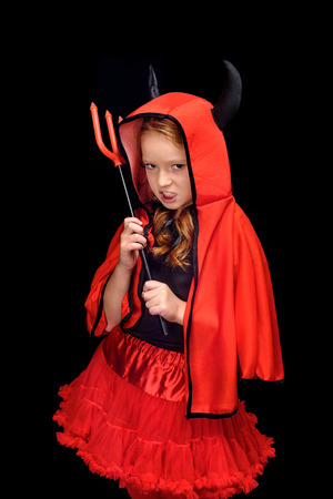 little devil with pitchfork Stock Photo