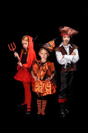 halloween duivel, heks en piraat