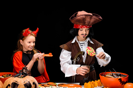 children with halloween sweets Stock Photo